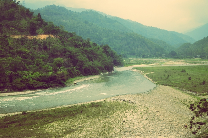 A meandering river on route to Gangtok, Sikkim. Vintage travel