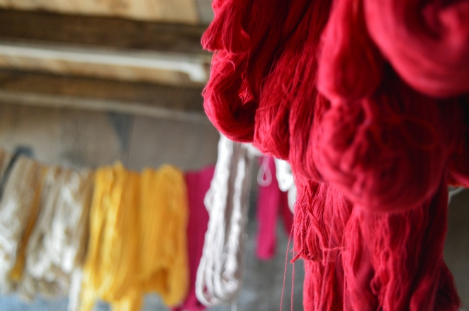 Handloom colors- the threads are left to dry after dying.